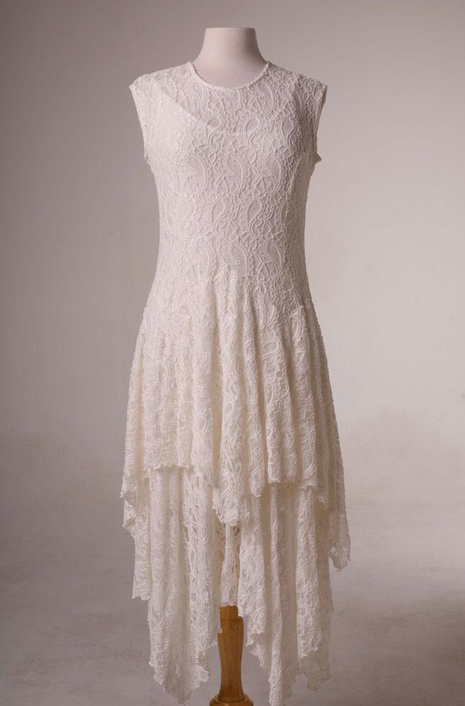Dress in style handkercief hem lace ivory dress ann n for Lace western wedding dresses