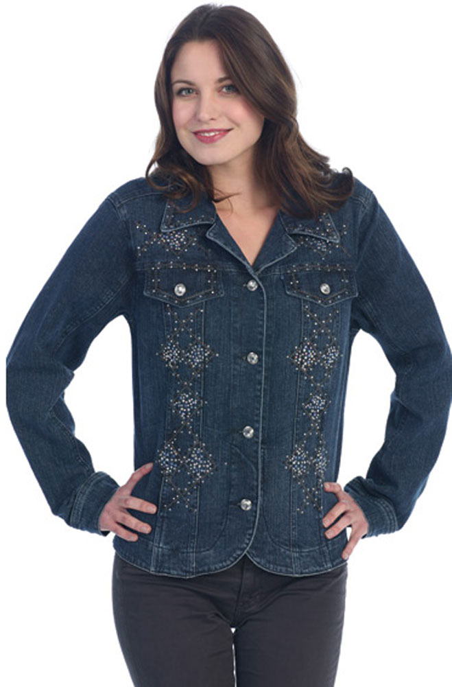 WesternWomenWear.com - Mid Length Denim Jacket with Bling ...