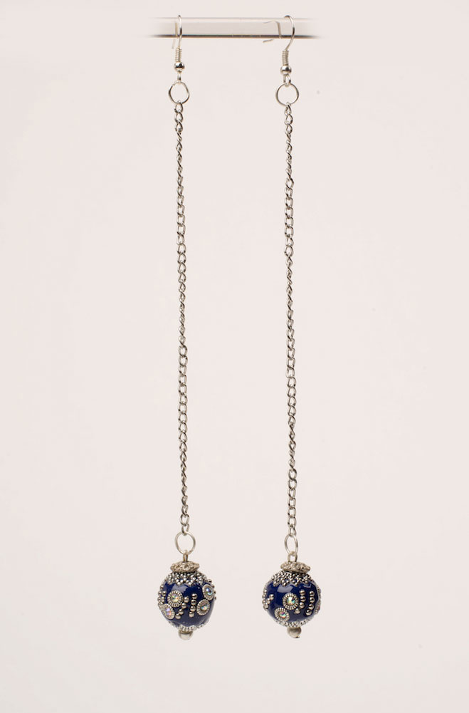 Midnight Blue Embellished Long Earring. #E113