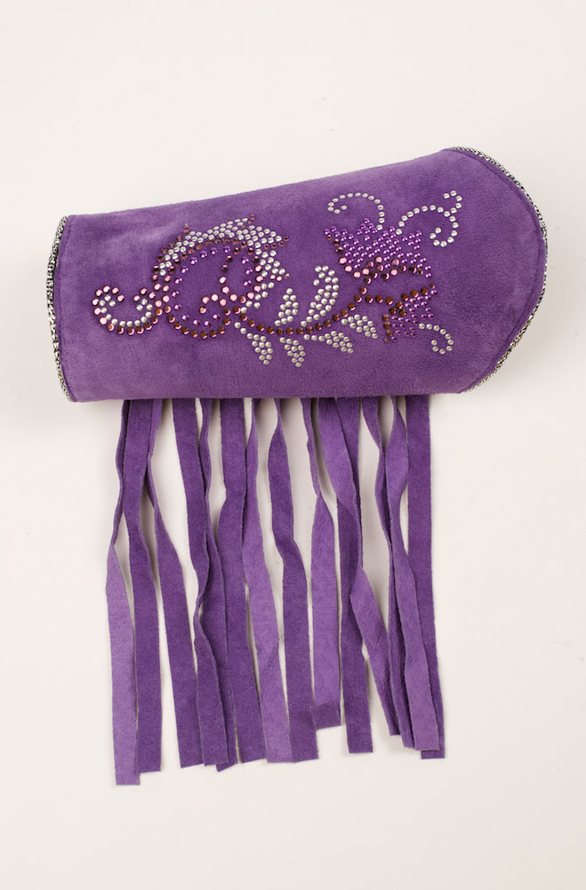 Purple Suede Sparkly Cuff Bracelet