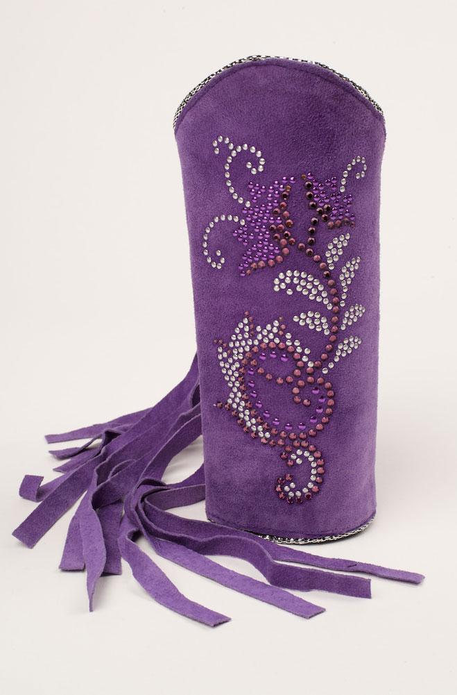 Purple Suede Sparkly Cuff Bracelet. #C156