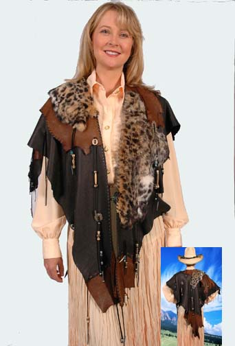 South Western Deer Skin Rabbit Fur Hand Made Cape (4 weeks to ship). #AE0035WF