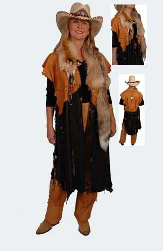 South Western Hand Made Deer Skin Cape (4 weeks to ship). #AE0122WF