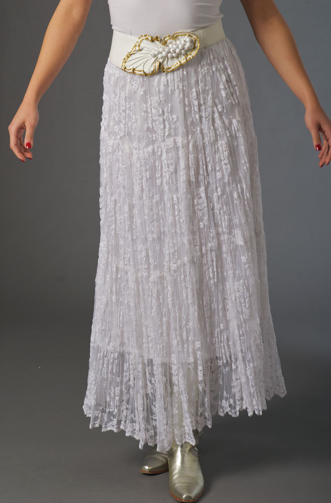 WesternWomenWear.com - White Lace Tiered Broomstick Long Skirt ...