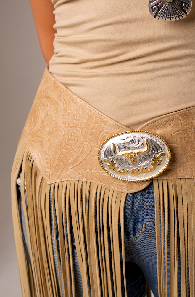 Dress In Style Tooled Leather Belt With Long Fringe 4