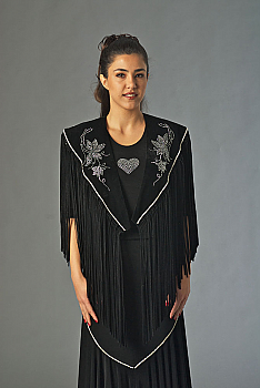 Black Velvet Shawl With Rhinestone Applique (10 days to ship). #2056 [Limited Edition]