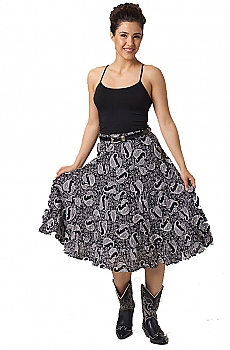 Black and White Short Paisley Skirt. #5080