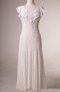 Fit and Flare White Dress with Embellishment (15 days to ship). #10016W [Limited Edition]
