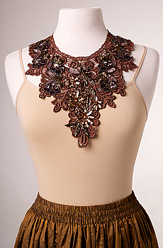 Copper Lace Beaded Neck Piece. #1611NK