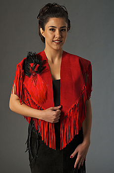 Western Red Suede Shawl with Fringe. #2067LD