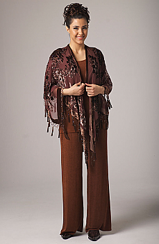 Burnt Out Velvet Long Beaded Shawl. #2094BV [Limited Edition]