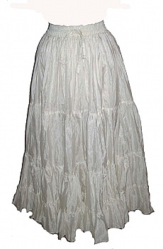 Romantic White Ruffled Silk Taffeta Skirt (3 days to ship). #5051 Shiba [Limited Edition]
