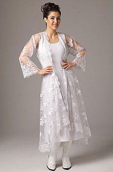 Embroidered Organza Long Wedding Jacket (2 weeks to ship). #6047Emb [Limited Edition]