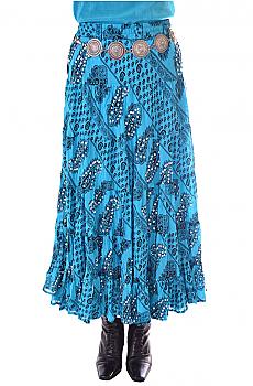 Boho Chic Paisley Print Turquoise Skirt. #BO201