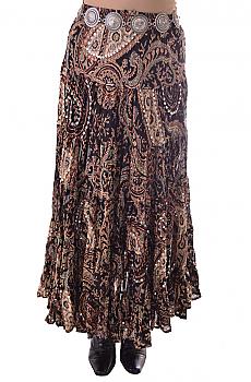Boho Chic Multi Print Paisley Skirt. #BO204