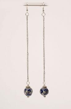 Midnight Blue Embellished Long Earring. #E113
