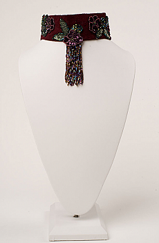 Elegant Beaded Burgundy Suede Collar (3 days to ship). #NCK27 [Limited Edition]