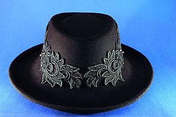 Black Applique Hat. #1223