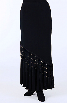 Black Flounce Long skirt with Beaded Fringe (10 days to ship). #5057