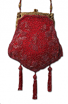 Beaded Victorian Burgundy Purse. #1107BD [Limited Edition]