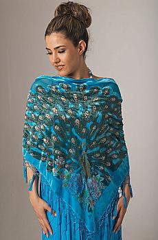 Boho Chic Peacock Beaded Shawl. #2092BO