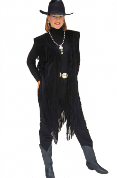 Western Style Fringed  Long  Black Vest (15 days to ship). #9005L [Limited Edition]