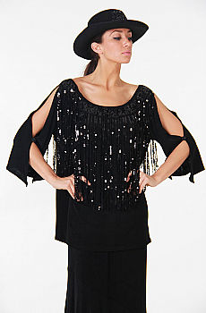 Black Peasant Top with Sequins (7 days to ship). #AE409