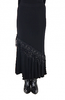Black Sexy Flounce Long Skirt with Sequins (7 days to ship). #ATC531LS-SEQ [Limited Edition]