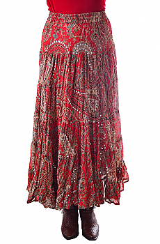 Boho Chic Red Multi Paisley Skirt. #BO205