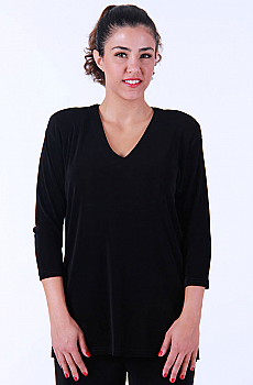 Black V-Neck Tunic Top. #LB378