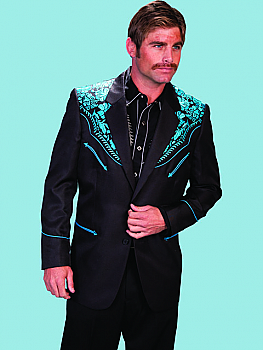 Western Wear Men Blazer Jacket With Turquoise Embroidery (7 days to ship). #P-806