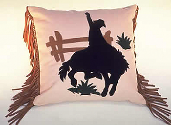 Rodeo Horse Applique Western Pillow (3 weeks to ship). #101