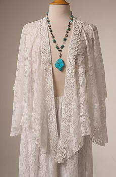Romantic White Lace Ruffled Western Shawl(10 days to ship). #2112 [Limited Edition]