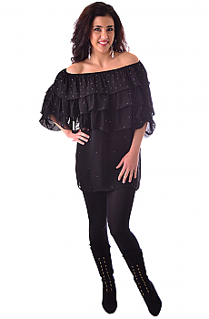 Boho Chic Black Ruffled Chiffon off Shoulder Top (7 days to ship). #BO103
