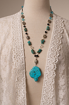 Turquoise and Black Glass Bead Hand made Necklace. #NCK29
