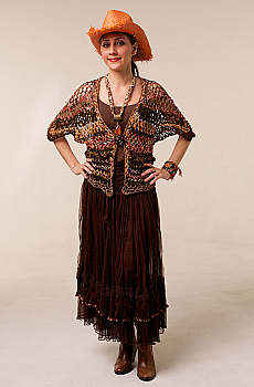 Bohemian Hand Knitted One-Of-A-Kind Vest in Brown Multi (3 days to ship). #AE0140HK