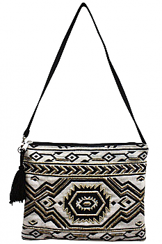 Clutch Aztec Black and Cream Bag. #ABCL 036