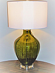 Green Glass Table Lamp w/ crystal Base. 3-way. 27 H x 18 reach