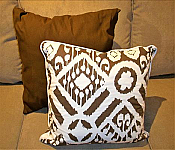 Brown and White Naya ZIkat Pillow. 18 x 18 . Zippered Cover for easy washing.
