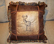 Embroidered Elk Pillow. 18 x18