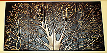 Mystic Tree Wall Art - 36H x 47W - Metal w Brushed Antique Brass and Gold finish
