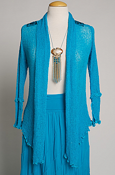 Embroidered Knit Tie Front Top (7 days to ship) #EMB1134BB