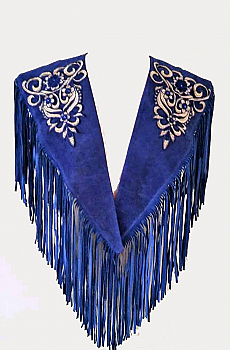 Cobalt Blue Embroidered Applique Suede Shawl #SH1001-16 [Limited Edition]