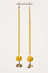 Yellow or White Metal Hand painted Long Earring. #E110